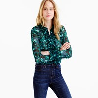 J.Crew Collection Ruffle Front Shirt In Ratti Emerald Floral