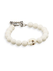 King Baby Studio Diamond White Coral And Sterling Silver Skull Toggle Bracelet