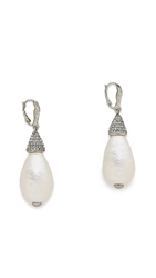 Oscar De La Renta Pearl Drop Earrings