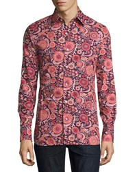 Tom Ford 70S Floral Print Shirt Purple Pink Purple Pink