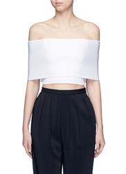 Rosetta Getty Rib Knit Off Shoulder Cropped Top White