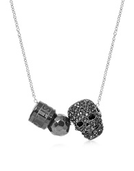 Northskull Gunmetal Black Skull W Hematite Ball And Logo Wheel Slim Curb Men's Necklace Graphite