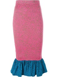 House Of Holland Pufferfish Frill Pencil Skirt Pink And Purple