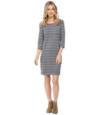 Culture Phit Ainsley Round Neck Sweater Dress Grey White Women's Dress Gray