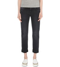 7 For All Mankind Faded Relaxed Skinny Mid Rise Jeans Black Smoke