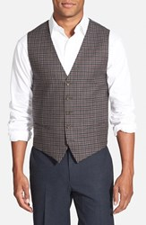 Men's Big And Tall Wallin And Bros. Trim Fit Check Wool Vest Grey