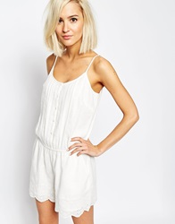 Vero Moda Boho Crochet Detail Playsuit Cream