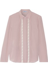 Prada Lace Trimmed Silk Crepe De Chine Shirt Taupe