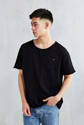 Feathers Destroyed Raw Hem Terry Tee Washed Black