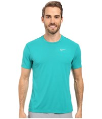 Nike Dri Fit Contour S S Running Shirt Teal Charge Reflective Silver Men's T Shirt Blue