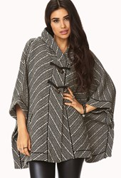 Forever 21 No Grey Area Hooded Poncho Black Beige