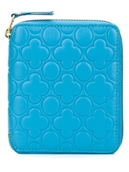 Comme Des Garcons Embossed Small Zip Wallet Blue