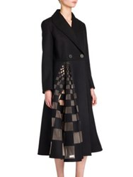 Fendi Grid Tulle Inlay Wool And Cashmere Fleece Coat Black
