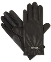 Isotoner Signature Stretch Leather Belted Gloves Black