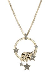Roberto Cavalli Embellished Necklace With Tiger Motif Gold