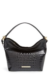 Brahmin 'Small Harrison' Croc Embossed Leather Hobo Black