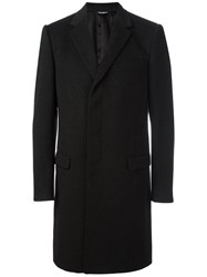 Dolce And Gabbana Embroidered Rose Lapel Coat Black
