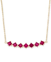 Rare Featuring Gemfields Certified Ruby Fancy Statement Necklace 1 1 2 Ct. T.W. In 14K Gold Yellow Gold