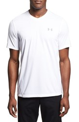 Men's Under Armour 'Ua Tech' Loose Fit Short Sleeve V Neck T Shirt White Steel