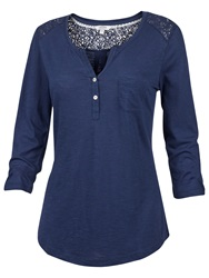 Fat Face Lace Insert Henley T Shirt Indigo