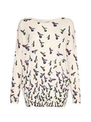 Mela Loves London Bird Print Jumper Cream