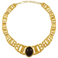 Eclectica Vintage 1980S Monet Gold Plated Resin Cabochon Collar Necklace Black Gold