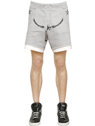 Philipp Plein Embroidered Cotton Jogging Shorts Heather Grey