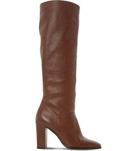 Dune Stockard Leather Knee High Boots Tan Leather