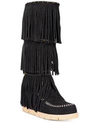 Mojo Moxy Dolce By Crossbow Fringe Wedge Boots Women's Shoes Black