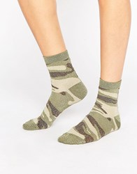 Asos Glitter Camo Ankle Socks Green