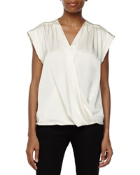 Halston Heritage Short Sleeve Wrap Front Top Chalk