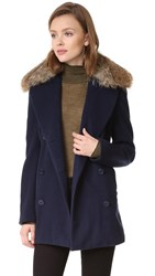 Jenni Kayne Peacoat With Fur Collar Navy