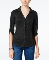 Almost Famous Juniors' Ribbed Panel Utility Top Black