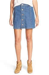 Hinge Button Front Denim Skirt Medium Wash