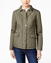 Charter Club Petite Quilted Coat Only At Macy's Green Tea