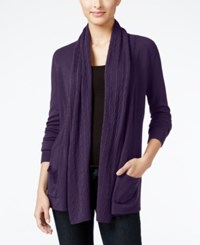 Karen Scott Petite Open Front Cable Knit Cardigan Only At Macy's Purple Dynasty