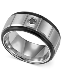 Triton Men's Black And White Tungsten Ring Black Diamond Accent Wedding Band
