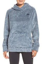 The North Face Women's 'Osito' Fleece Hoodie Shady Blue Blue Stripe