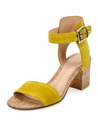 Gianvito Rossi Suede Cork Heel City Sandal Mustard Mustard Mout