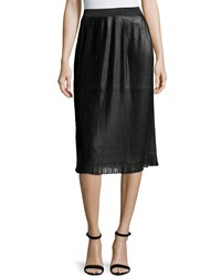 Design History Pleated Faux Leather Midi Skirt Onyx