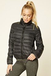 Forever 21 Active Get Moving Puffer Jacket Black White