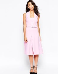 Closet Halter Dress With Pleated Skirt Pink