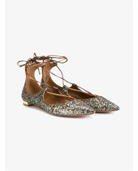 Aquazzura Christy Glitter Flats Multi Coloured Bronze Khaki
