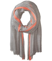 Hat Attack Color Border Scarf Light Grey Neon Pink Scarves Gray