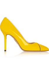 Charlotte Olympia Natalie Pvc Trimmed Patent Leather Pumps Yellow