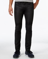 Armani Exchange Men's Slim Fit Solid Black Piped Jeans