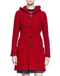 Lanvin Hooded Toggle Front Coat Red