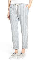 Women's Caslon Linen Tie Front Crop Pants Blue Chloe Stripe