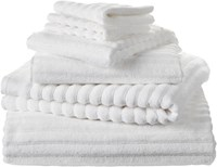 Cb2 6 Piece Channel White Cotton Bath Towel Set