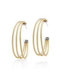Alor Stainless Steel Cable Three Row Hoop Earrings Yellow